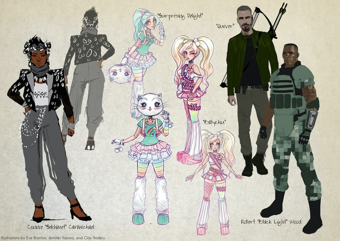 New character designs by Amanda E Braxton, Jen Vaiano and Clay Rodery