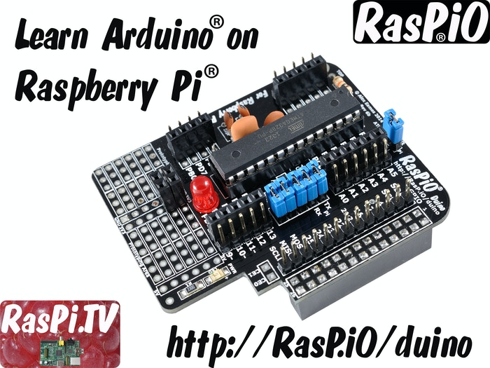I will get you into Arduino programming with my affordable board, a Raspberry Pi, and clear videos and tutorials, as seen on RasPi.TV