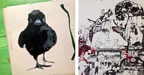 """""""Baby Crow"""" von ann CAZ.L & Detail vom Siebdruck """"I like it RAW"""""""