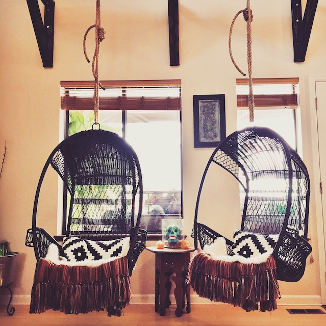 These are the hanging chairs we put up
