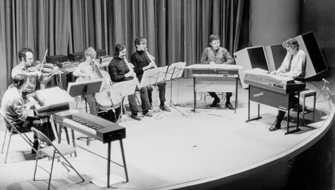 Philip Glass Ensemble at the Guggenheim, 1970.  ©  Richard Landry