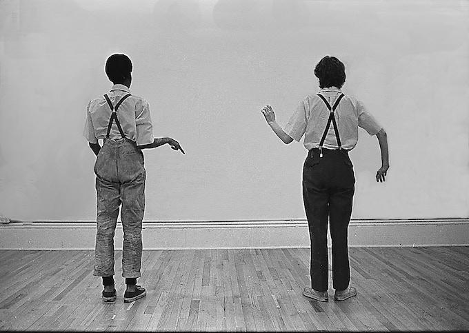Sheryl Sutton and Lucinda Childs rehearse Knee Play 4, 1976.  ©  Richard Landry