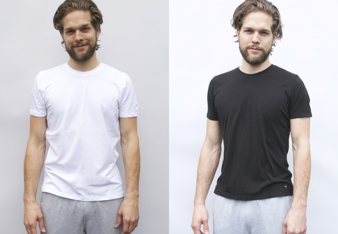 Men's Pure White and Jet Black Base Layer T shirts