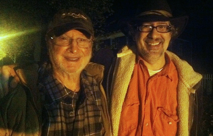 Jules Feiffer and Dan Mirvish at a bus stop in the Hamptons, 2013