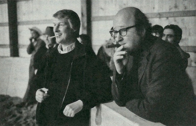 Mike Nichols and Jules Feiffer at a horse farm in Connecticut, 1971