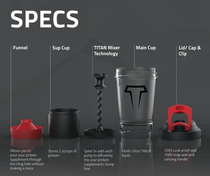 The TITAN Mixer Bottle™ is currently patent pending (Utility & Design)