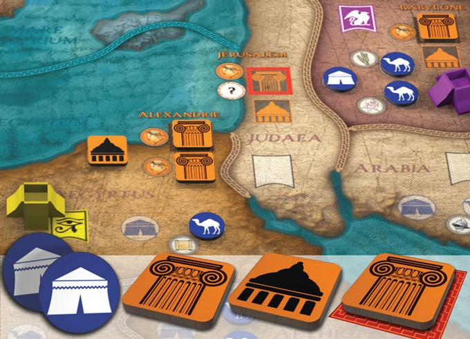 Pictured are Markets, City, Temple and Legendary City counters.