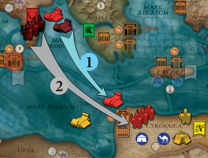 The Roman player first moves one of his Triremes to Mare Africum. He then transports three Legions from Italia to attack the Egyptians in Cyrenaica!