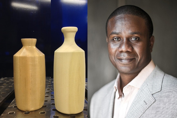 Enoch Aboh, from the West African country of Benin, is the translator for three (of five) farms for this Kickstarter campaign. Shown on left are the wooden mold forms for Farm No. 006 and 007.