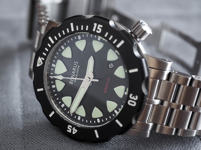 Megalogon, shark tooth dial (sample watch shown)
