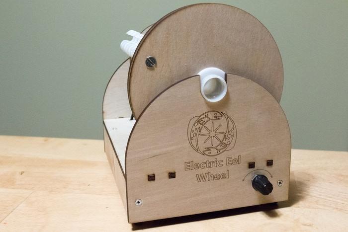 The Electric Eel Wheel, an electric spinning wheel that twists fiber into yarn