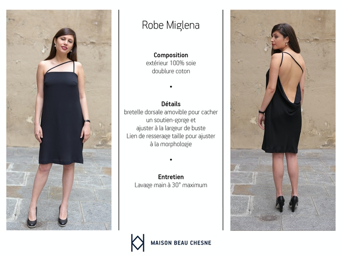 Miglena mesure 1m65 et fait une taille 38, elle porte la robe en taille 38. // Miglena is 5'4 feet tall, she's a size 6 (US) and wears her dress in size 6