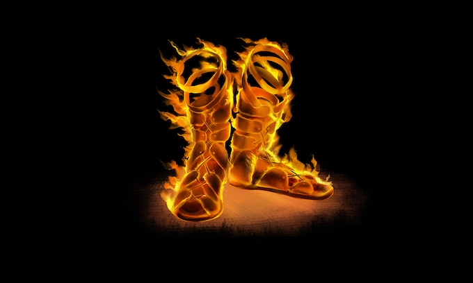 These sandals are inhabited by a flame spirit granting speed, protection in the form of heat shimmer and resistance to cold as well as a nasty kicking attack.