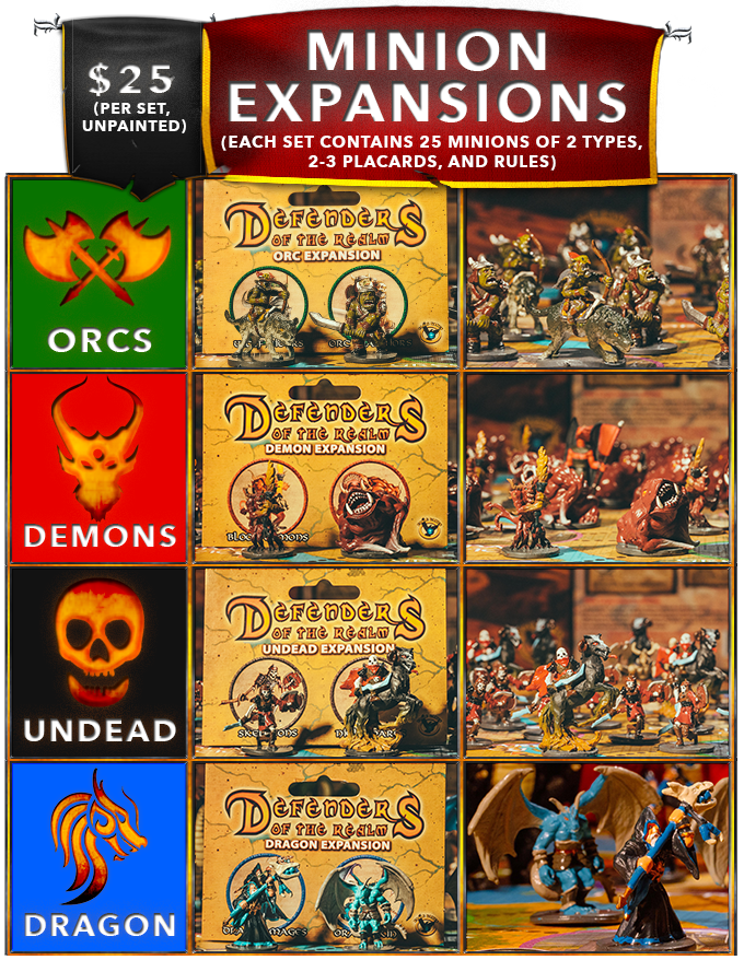 *Due to limited quantities, the only Minion Expansions now available are UNPAINTED.