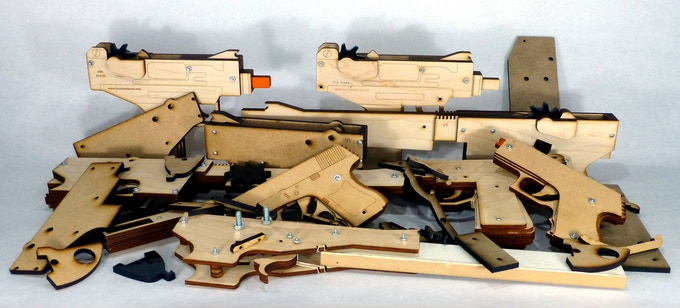 A few of the prototype guns and parts