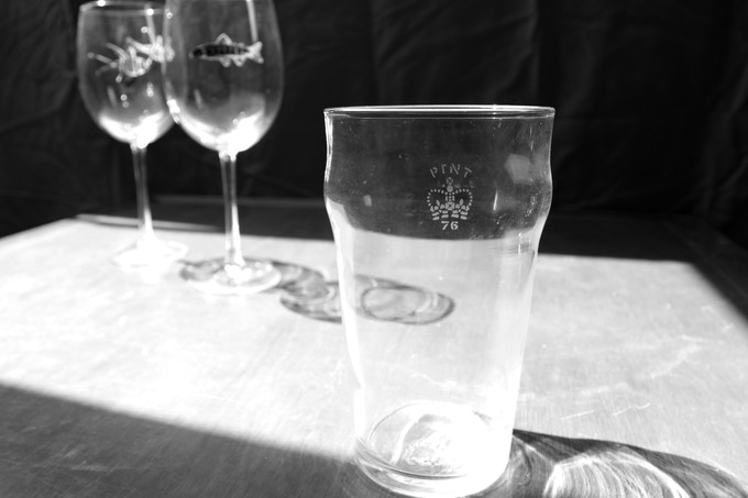 The crown stamp on a traditional British pint glass.