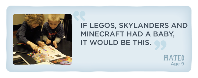 "An actual quote from one of our very first play testers, Mateo, playing alongside his brother Nikko. That same evening we asked Mateo what he would call this game. He immediately said ""Bloxels""."