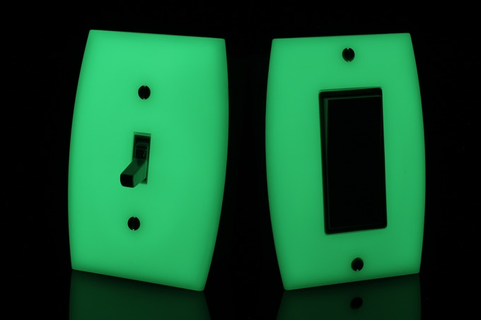 GlowaSwitch switch plates glowing in the dark (light switches not included)