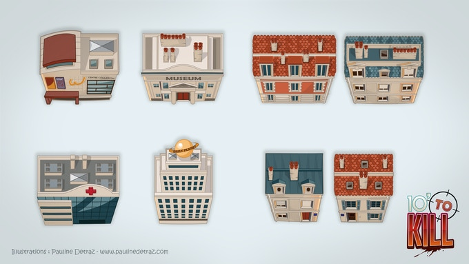 A few examples of buildings for location tiles