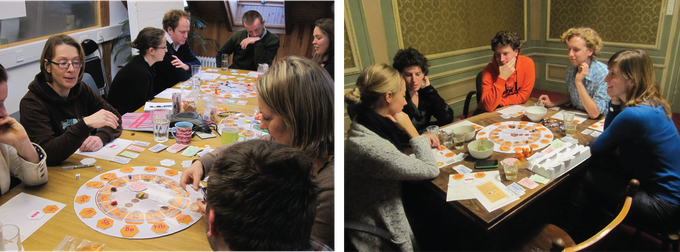 The Ellen MacArthur Foundation team gets in the loop (left) and playing with my team at Circle Economy (right).