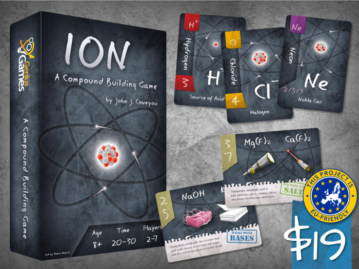 Ion: A Compound Building Game, one of John's three successful tabletop projects