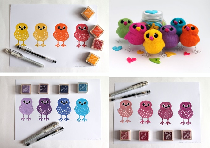 No Tea Towels for Me 4 Bird Prints and One Random Needle Felted Bird to Match Your Print