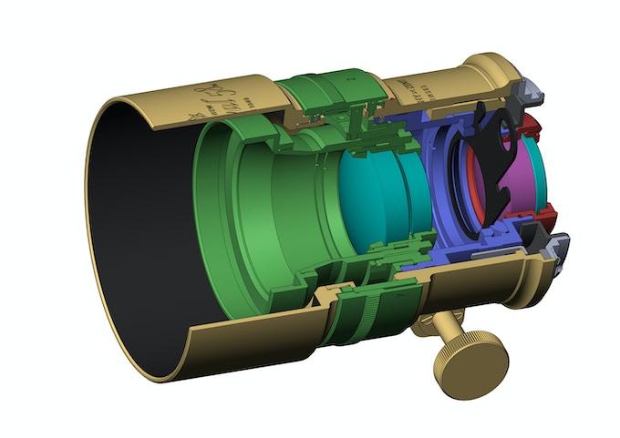 A cross-section diagram of the Petzval 58 Bokeh Control Art Lens
