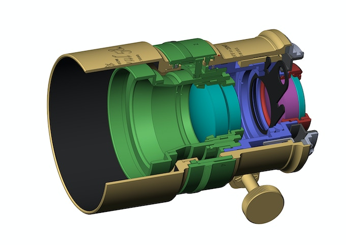 A cross-section diagram of the Petzval 58 Bokeh Control Art Lens