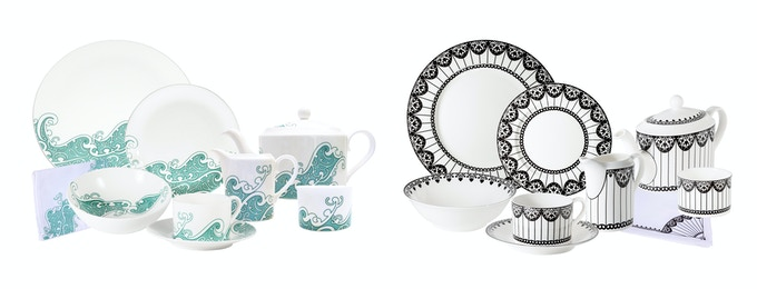 6-Person Dinner set in either Koru or Paper Kite design - six place settings plus teapot, milk jug & sugar bowl