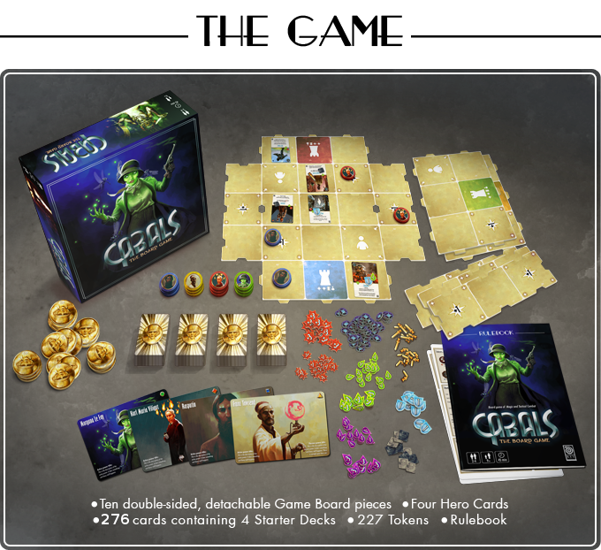Ten double-sided, detachable Game Board pieces. Four heroes. 276 cards containing 4 Starter Decks. 227 Tokens. Rulebook.
