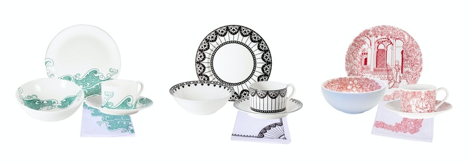 Fine Bone China breakfast set for two in the design of your choice