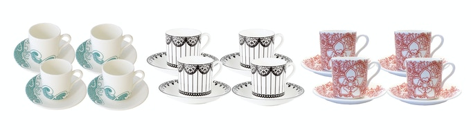 Set of fine bone china espresso cups & saucers in the design of your choice