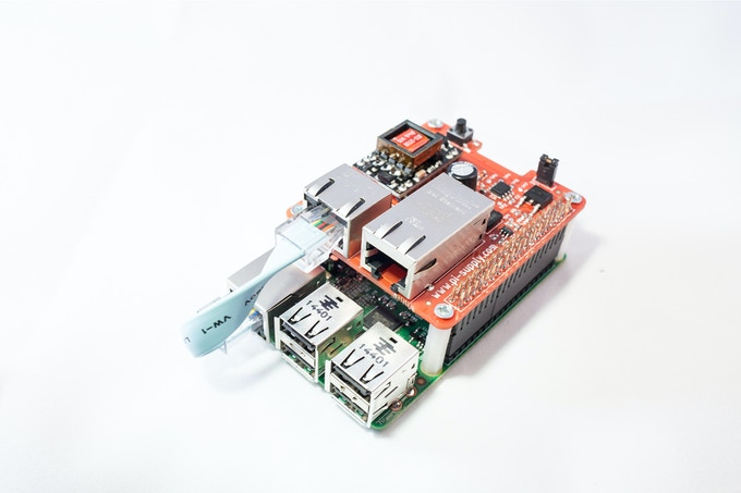 Photo of Pi PoE connected to a Raspberry Pi Model 2B