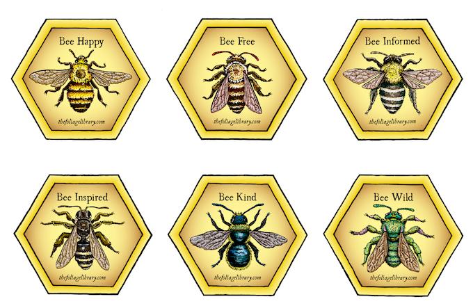 6 Bee Sticker Set