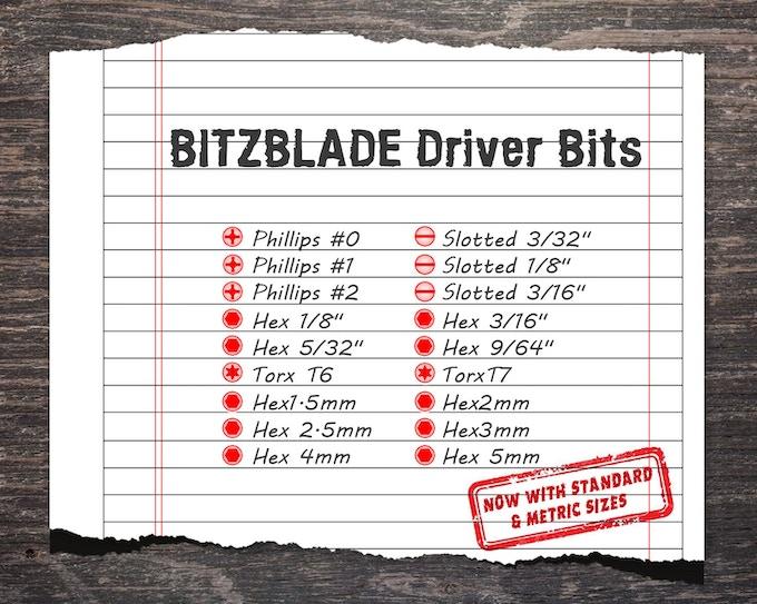 Driver BIts Sizes
