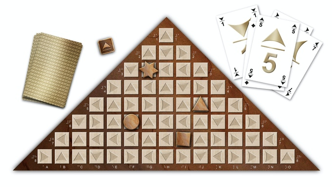 Photoshop-drawing of the board with 64 game stones, 4 pawns, the die and 36 cards.