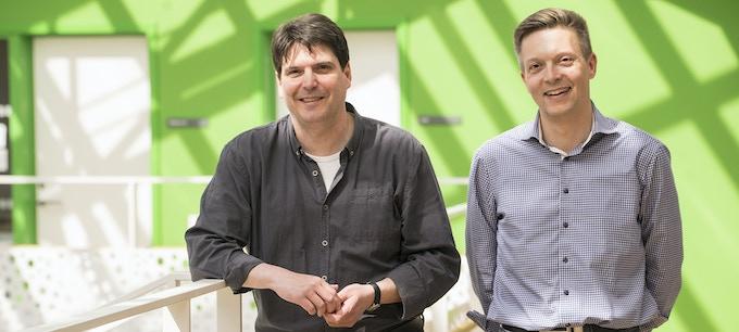 "The creator of the game, Johannes W. Schröder and his business associate Jan Jørgensen in the stairwell of the ""Danish Association of the Blind"" in Copenhagen, Denmark."