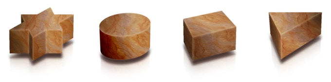 Photoshop-drawing of the 4 pawns (round, square, triangular and star-shaped).