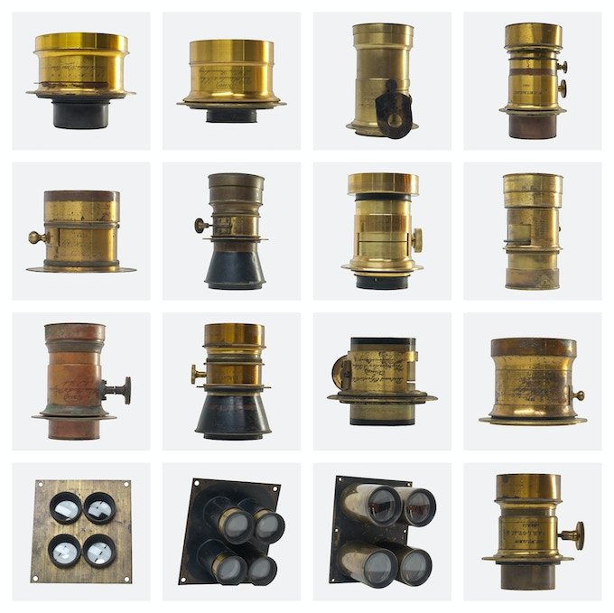 A collection of Antique Petzval Lenses owned by Geoffrey Berliner of the Penumbra Foundation.