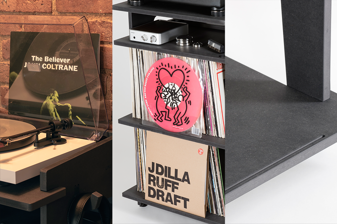 NOW SPINNING GROOVES: 3 different locations with engraved grooves to display your album covers.