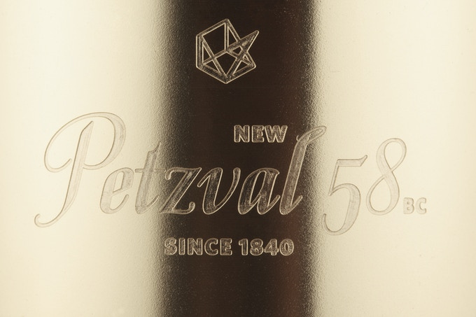 A close-up of the engraving on the New Petzval 58