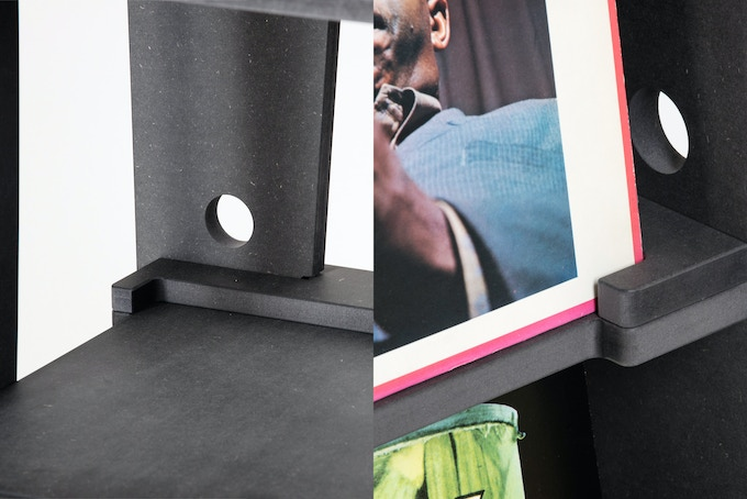 RECORD STOPS: Prevents your records from getting pushed back too far into the shelf. A small detail we're sure record collectors will appreciate.