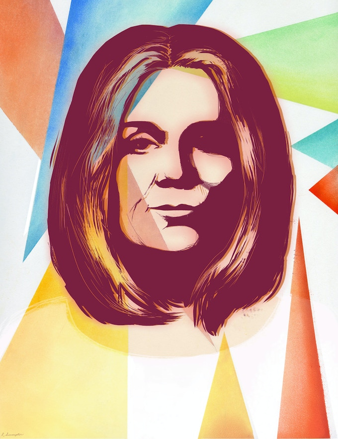 Here's a portrait Rachell Sumpter did of Gloria Steinem for The New York Times.