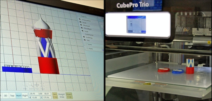 From 2D to 3D: A student's design for a chess piece in Moment of Inspiration software takes shape in a Cube Pro 3D printer in our 3D ThinkLink Lab