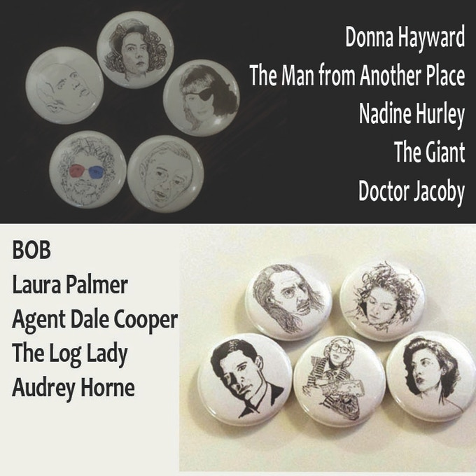"10 1"" pinback buttons of Twin Peaks characters from original illustrations by Maxx"