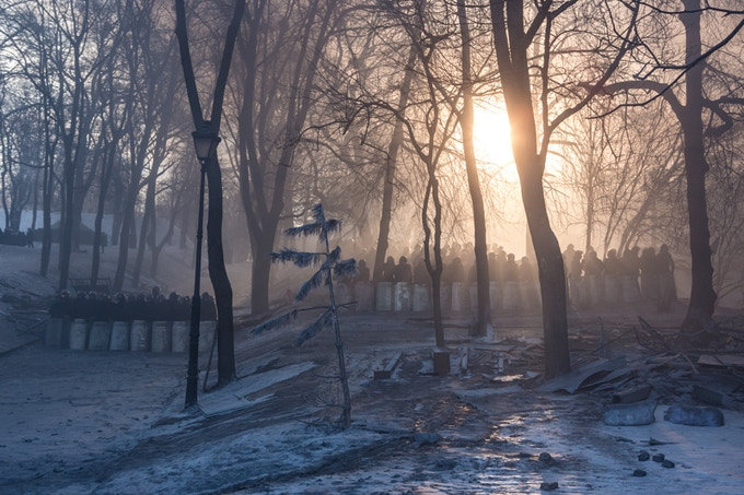 "$300- Berkut in Mariinskiy. Kyiv, Ukraine. Brendan Hoffman. 2014. 11x14"" Edition: 1 of 10"