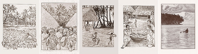 Illustrations of Daily Life in Pukapuka from book Making History