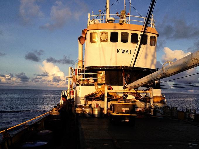 The cargo sailboat KWAI that will take us to Pukapuka.