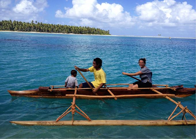 A traditional Pukapukan vaka (sailing canoe) made by the Te Ulu o Te Watu Training Institute, a Ministry of Education Cook Islands program started by Amelia Borofsky.