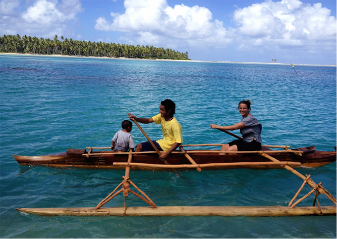 A traditional Pukapukan vaka (sailing canoe) made by the Te Ulu o Te Watu Training Institute, a Ministry of Education Cook Islands program started by Amelia Borofsky.